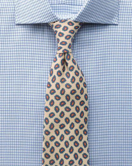 Slim fit semi-cutaway collar melange puppytooth sky blue shirt