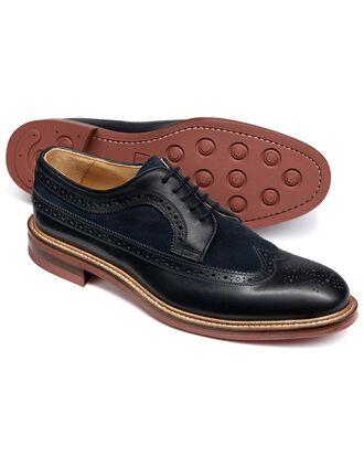 Navy Lanescot brogue wing tip Derby shoe