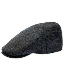 Navy tweed flat cap
