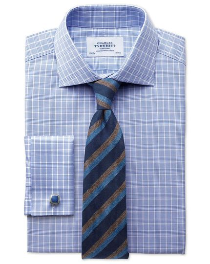 Classic fit Prince of Wales sky blue shirt