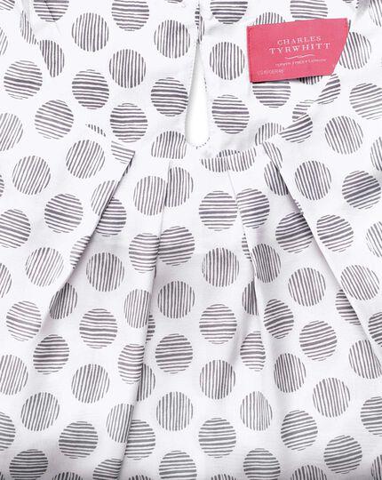 Women's semi fitted grey spot stripe print silk mix shell top