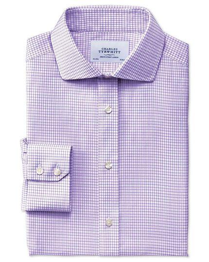 Slim fit cutaway collar non-iron dobby check lilac shirt
