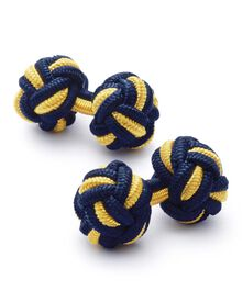 Navy and gold knot cuff links