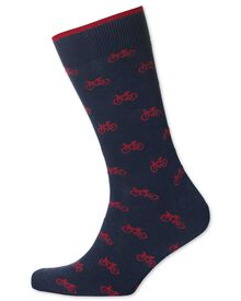 Navy and red bicycle socks