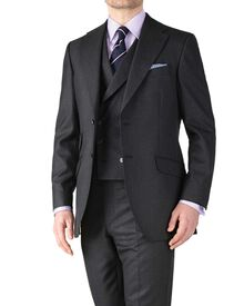 Charcoal classic fit British Panama luxury suit jacket