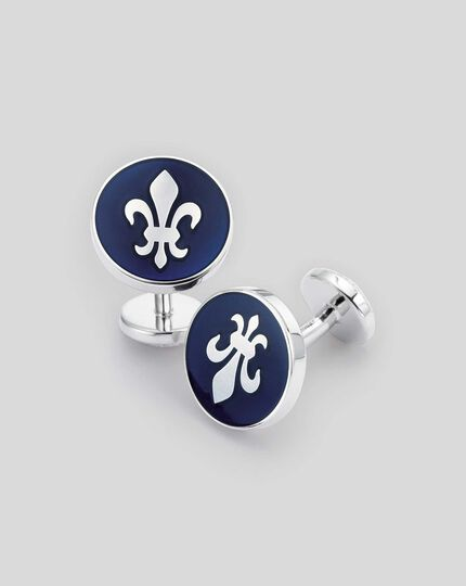 Navy Fleur-De-Lys enamel round cuff links