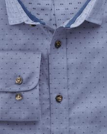 Classic fit dobby chambray blue shirt