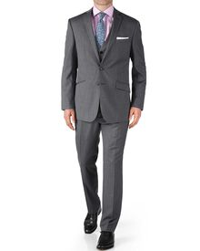 Silver slim fit twill business suit