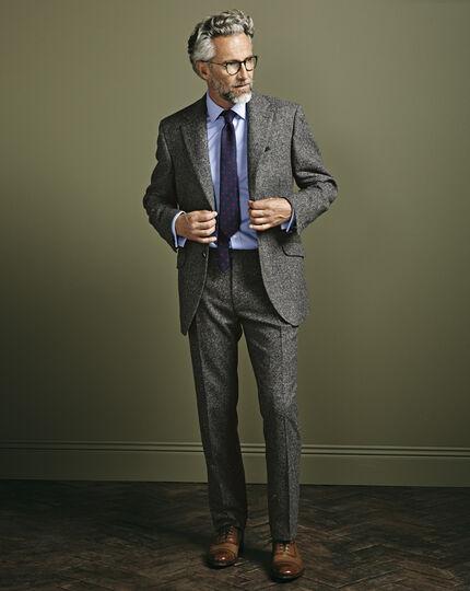 Grey slim fit Donegal tweed trousers