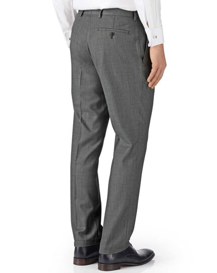 Grey slim fit birdseye travel suit pants