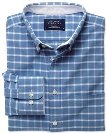 Classic fit blue and white check washed Oxford shirt