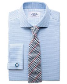 Slim fit cutaway collar non-iron square textured mid blue shirt
