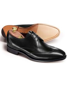 Black Olden calf leather wing tip Derby shoes