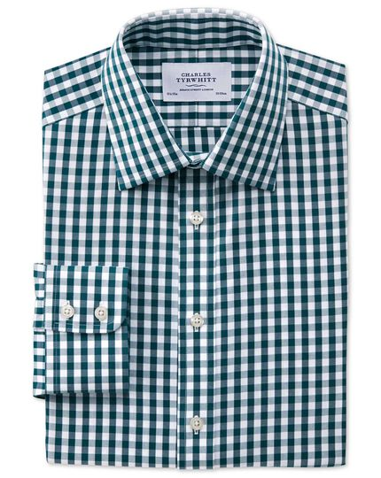 Bügelfreies Classic Fit Oxfordhemd in Grün mit Gingham-Karos