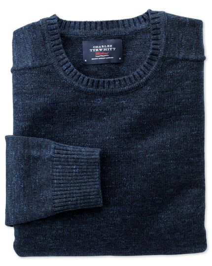 Indigo blue heather crew neck sweater