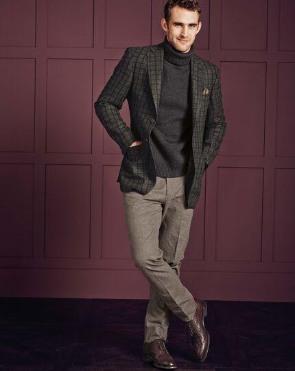 Beige slim fit cotton flannel trouser