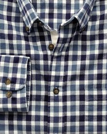 Classic fit navy and blue check brushed dobby shirt