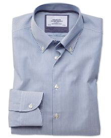 Bügelfreies Slim Fit Business-Casual Hemd mit Button-down Kragen in Blau mit Streifen