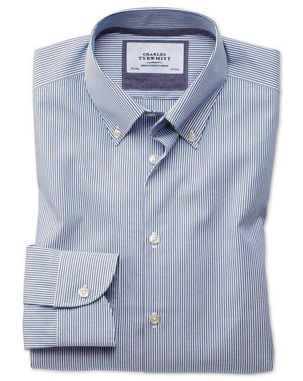 Slim fit button-down business casual non-iron blue stripe shirt