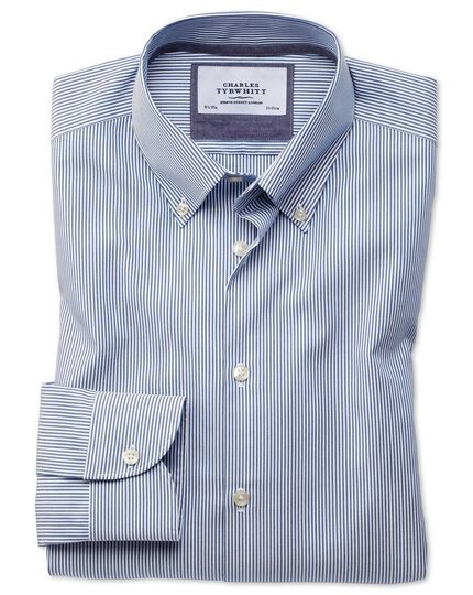 Extra slim fit button-down business casual non-iron blue stripe shirt