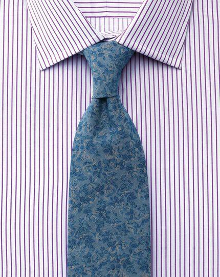 Slim fit Egyptian cotton stripe white and purple shirt