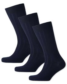 Navy wool rich 3 pack socks