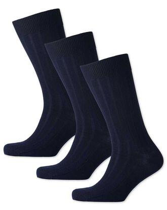 3er Pack dicke Wollsocken in Marineblau