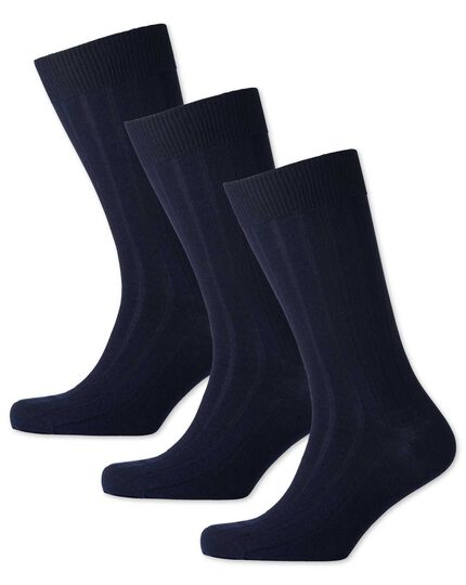 3er Pack dicke Wollsocken in marineblau