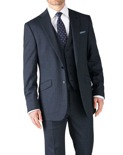 Airforce blue classic fit end-on-end business suit jacket