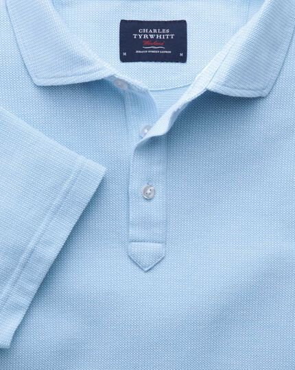 Sky blue and white birds eye polo