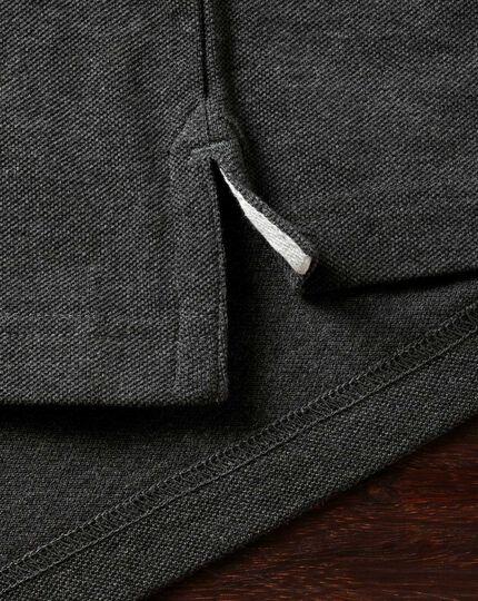 Charcoal long sleeve pique polo