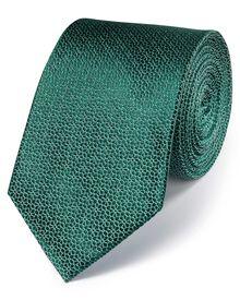 Green silk classic geometric floral tie