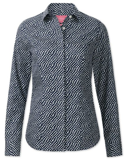 Women's semi-fitted non-iron navy and white random spot shirt