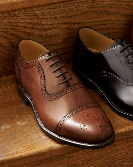 Brown Clarence toe cap brogue shoes