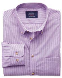 Slim fit non-iron poplin lilac stripe shirt