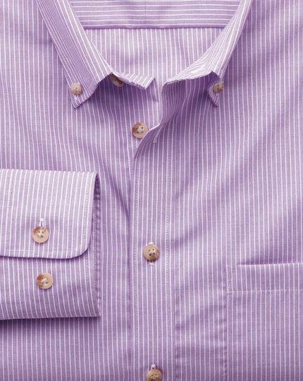 Bügelfreies Slim Fit Hemd aus Popeline in Flieder mit Streifen