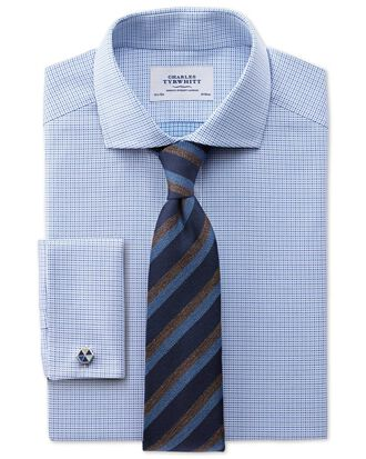 Extra slim fit cutaway collar Egyptian cotton textured blue shirt