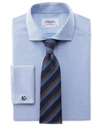 Navy and blue wool mix stripe classic tie