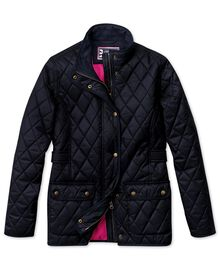 Women's semi-fitted navy quilted coat