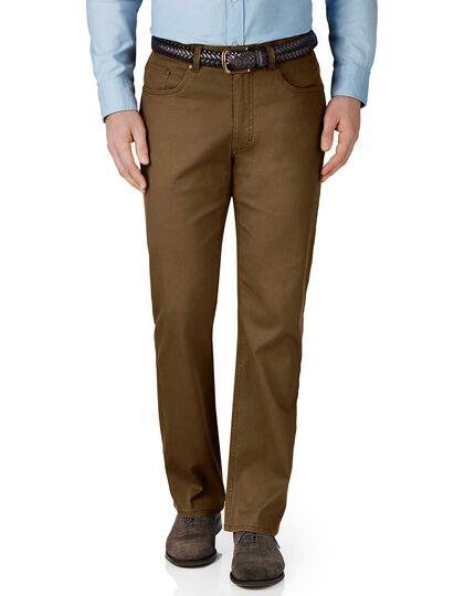 Brown classic fit stretch pique 5 pocket pants