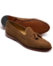 Tan Yardley suede apron tassel loafers