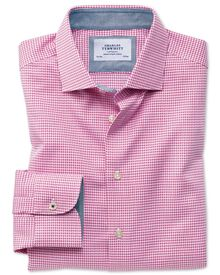 Slim fit semi-spread collar business casual puppytooth pink shirt