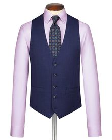 Indigo end-on-end business suit vest