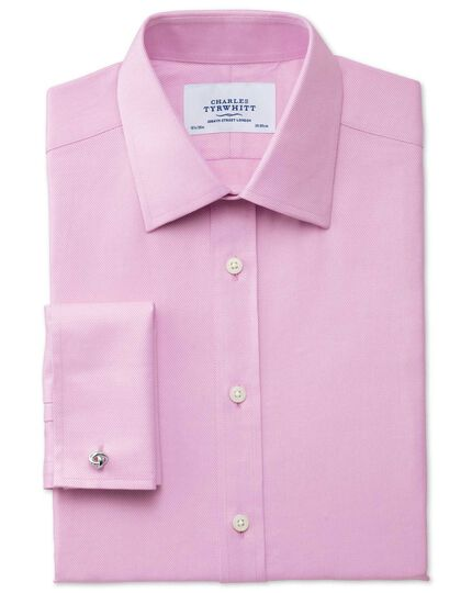 Extra slim fit Egyptian cotton cavalry twill pink shirt