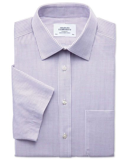 Slim fit non-iron grid check purple short sleeve shirt