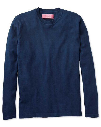 Women's navy cotton cashmere crew neck knit jumper