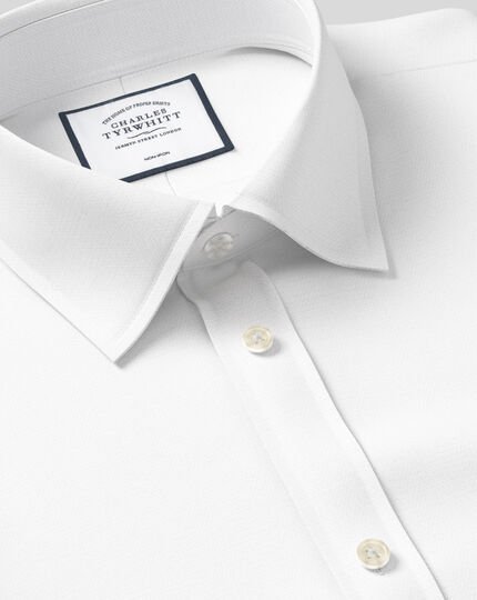 Classic fit non-iron herringbone white shirt