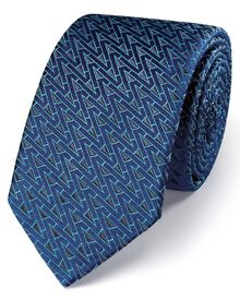 Navy and grey silk luxury English triangle slim tie