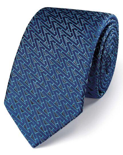 Navy and grey silk luxury English triangle slim tie