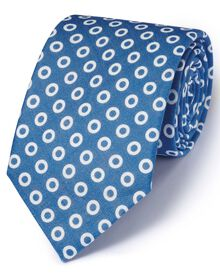 Blue linen English luxury spot tie